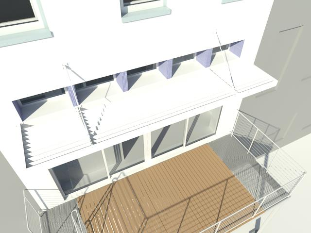Design Development Renderings of the rear facade/deck with Daylight winter conditions.