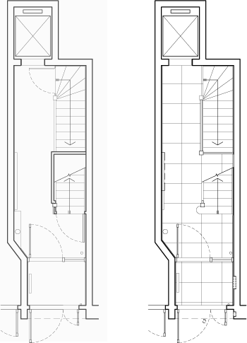 Existing Conditions (left) and Construction Plans (right)
