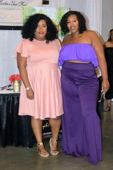 Our CEO and Head Designer Ashontay with blogger  Ramona O  wearing  CO Ruffle Bandeau Top  and  Signature Wide Leg Pant