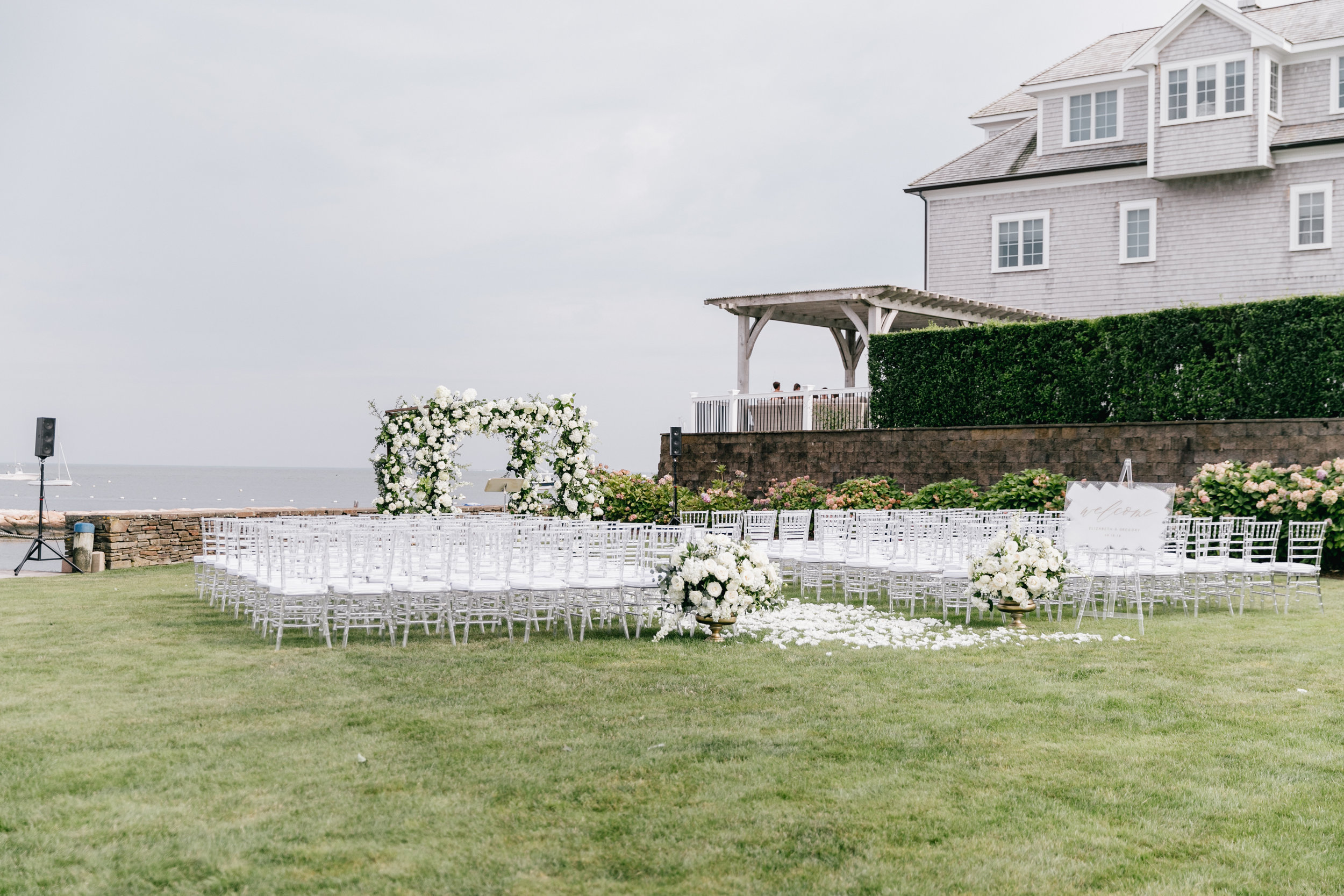 Full Floral Arbor with Entrance Urns  Emily Wrenn Photography