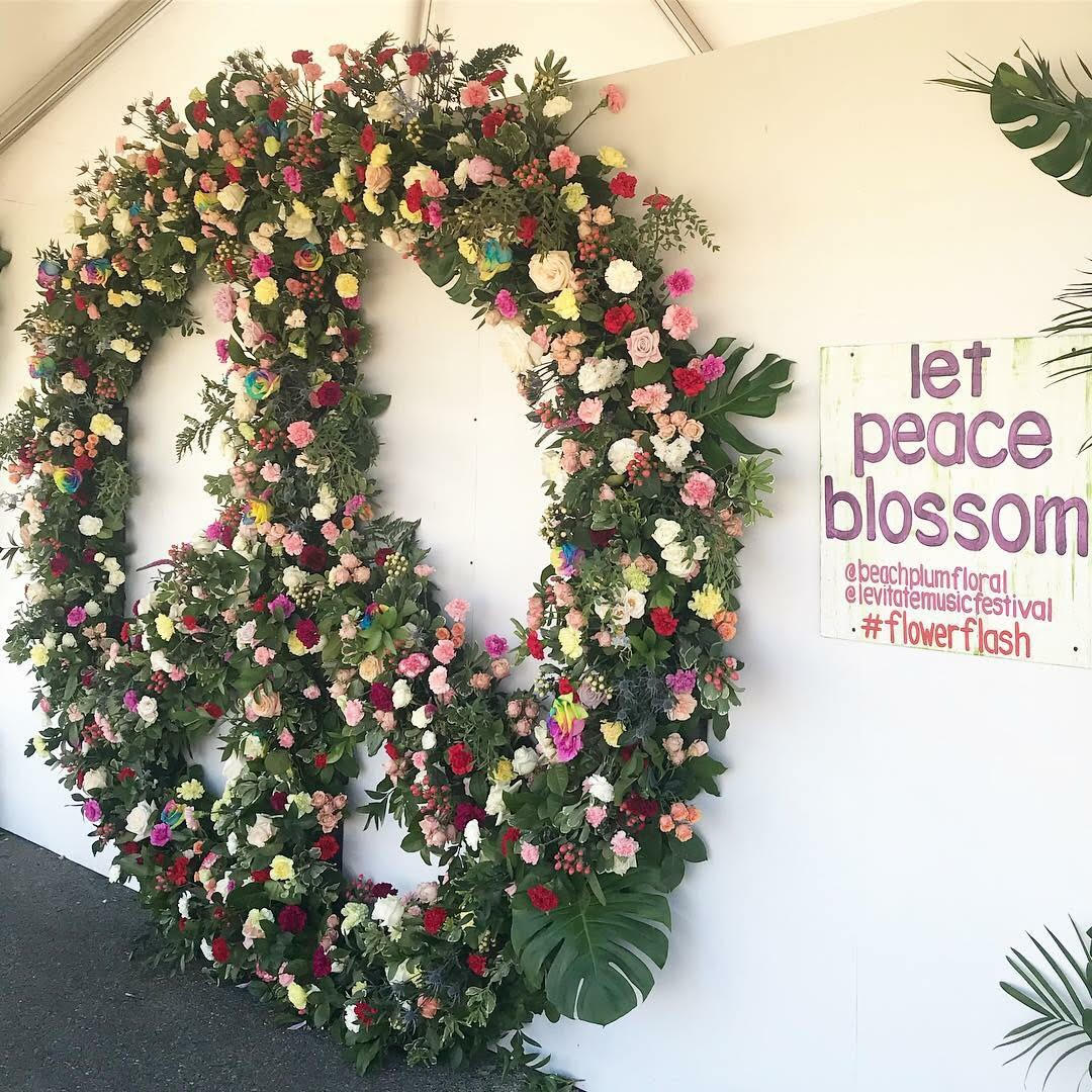 Levitate Music Festival, Marshfield, MA - 15x15 Custom Floral Peace Sign