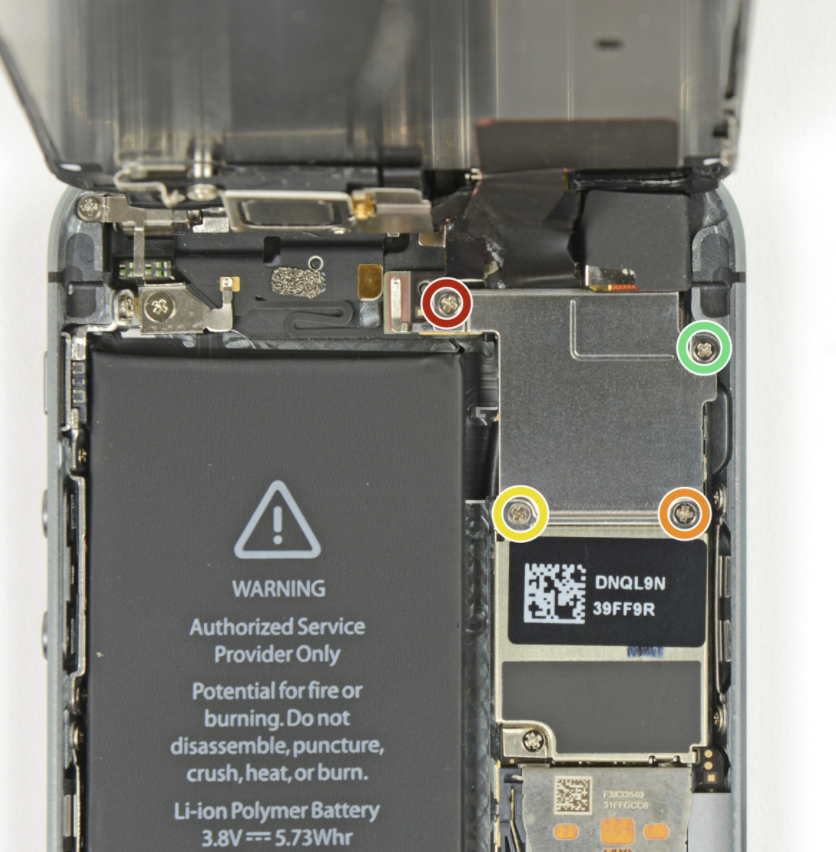 iPhone 5S/SE screw layout