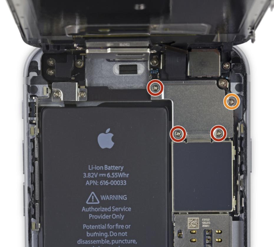 iPhone 6S screw layout
