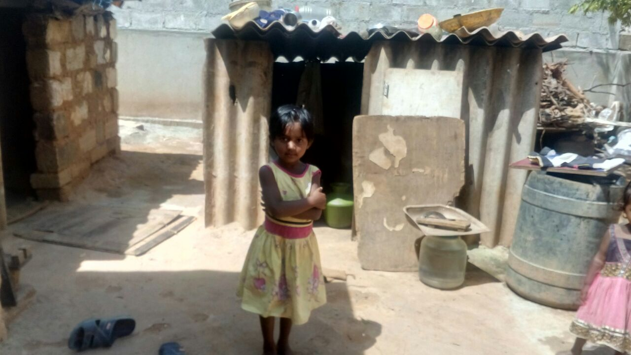 Student Spotlight: Boomika - Four year old Boomika is the third of five girls in her family. Her parents migrated to Bangalore to work in construction. Boomika's older sisters Lakshmi and Pooja are also students in our NEST (Non-formal Education & Skills Training) program.