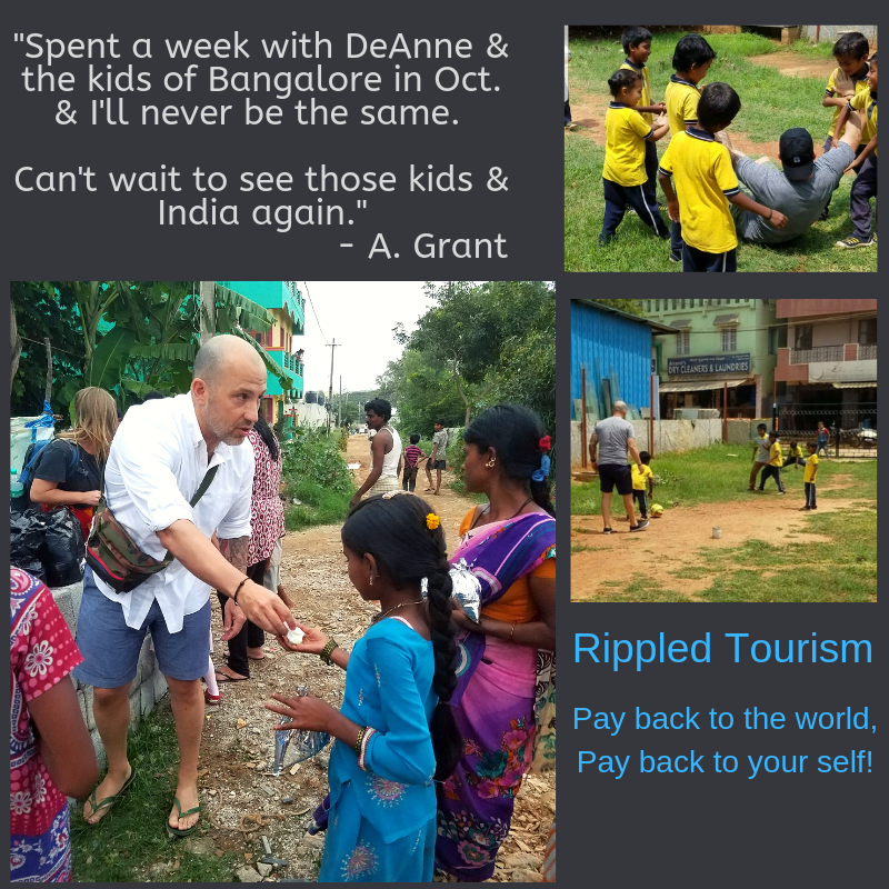 Travel to India with DeAnne for the transformational trip of a lifetime.   Learn more:  Rippled Tourism  or email DeAnne directly: deanne@rippledpurpose.com