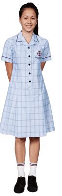 Knee length tartan blue dress.