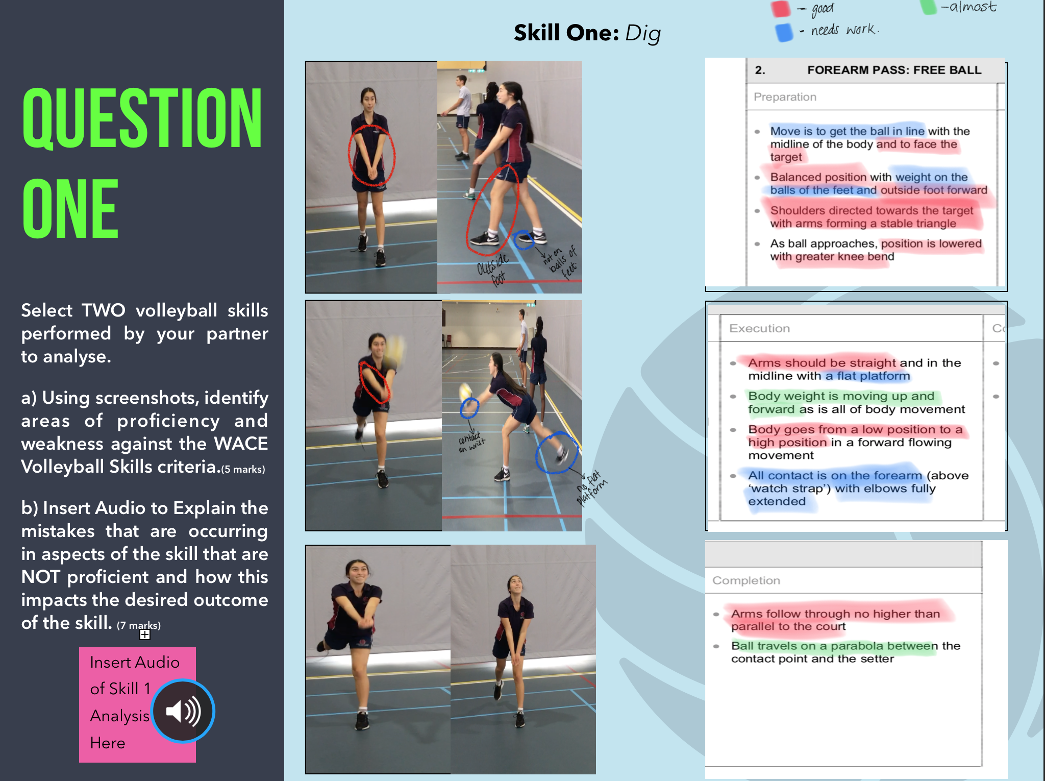 Student analysis of volleyball skills using annotation, photography and audio.
