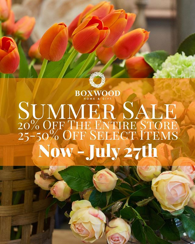 It's time for our annual Summer Sale! Now through July 27th, the ENTIRE store is 20% Off + select items 25-50% Off! Don't miss this opportunity to save BIG on furniture, artwork, lamps, home accessories, floral and greenery, home fragrances, gift items, & SO much more. 🌻🌻🌻🌻🌻🌻🌻🌻🌻🌻🌻🌻🌻 Hurry in and shop the #BoxwoodHomeandGift Summer Sale today! • • • • • #myboxwoodhome #SummerSale #houston #houstonboutique #humbletx #atascocita #kingwood #homedecor #homeandgift #summertime