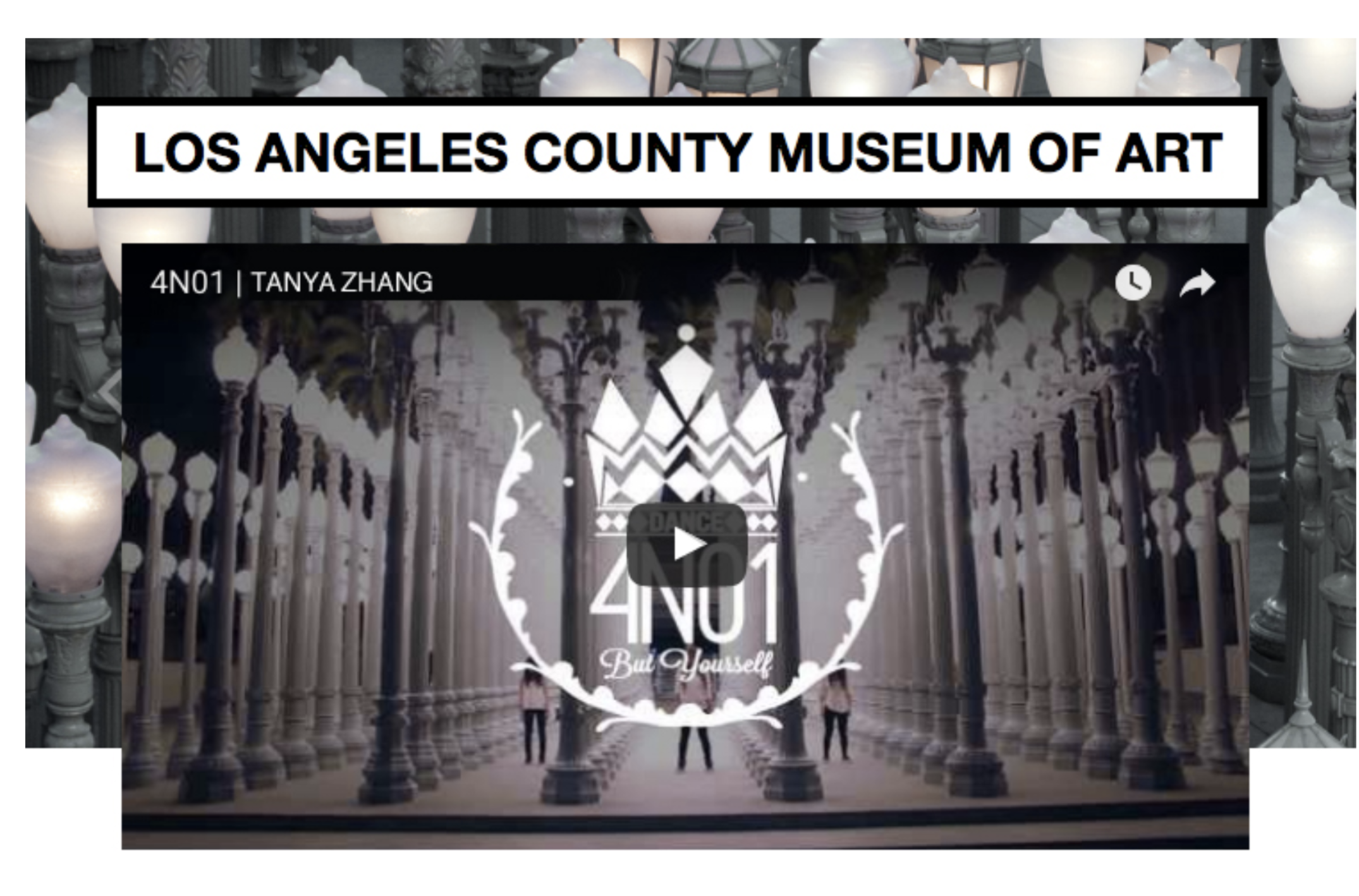Featured in LACMA  for choreography to Kanye West's Street Lights