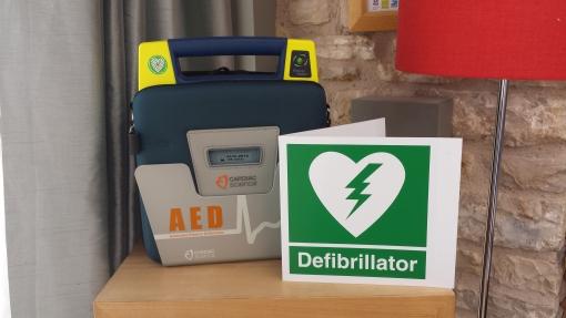 Folly Farm's defibrillator kit.