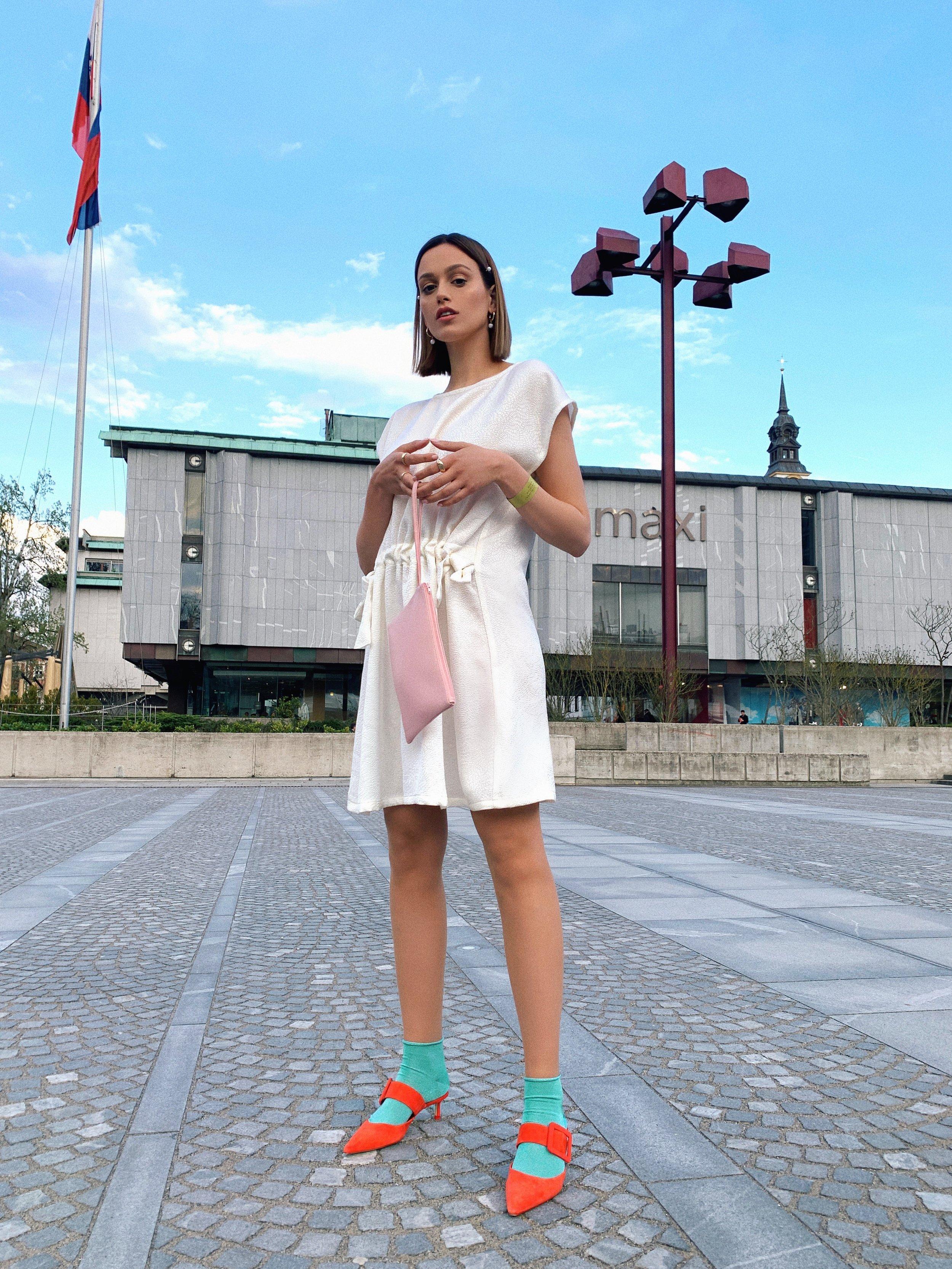 OUTFIT - dress Anselmabag Boopacksshoes Zarasocks Calzedoniajewelry H&M