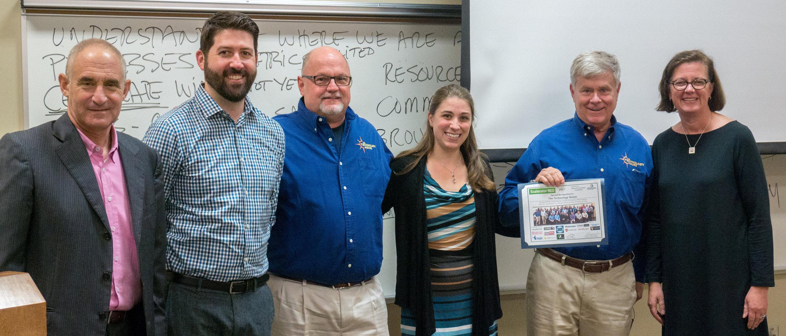 Dan Isenberg  (Scalerator Founder);  Greg Cebular, Mike Wright, Lauren Good , and  Chip Gear  (The Technology House);  Deborah Hoover  (President, Burton D. Morgan Foundation)
