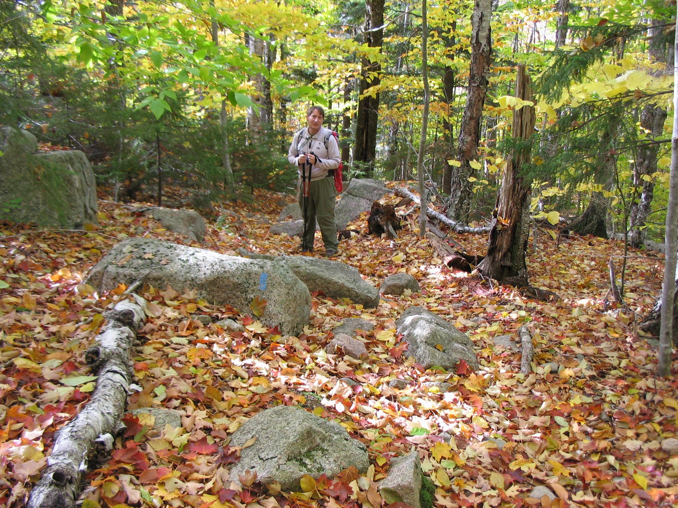 Bob Tucker hiking in Western Maine.