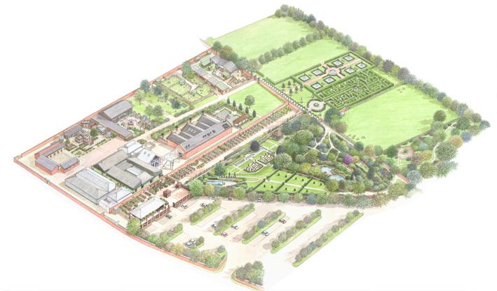 Bird's Eye view of Wentworth Woodhouse Gardens and Garden Centre