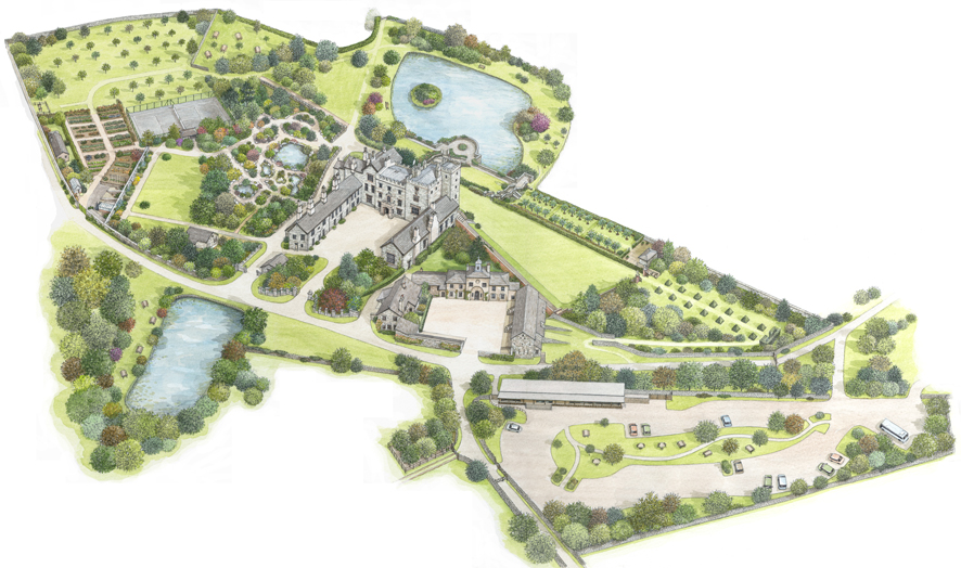 Painting of Sizergh Castle and Gardens, for The National Trust .