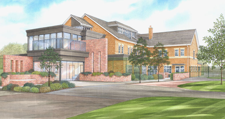 Perspective painting showing proposed extension to existing Care Home.