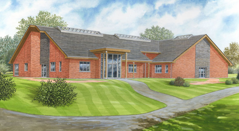 Perspective painting of a proposed Care Home.