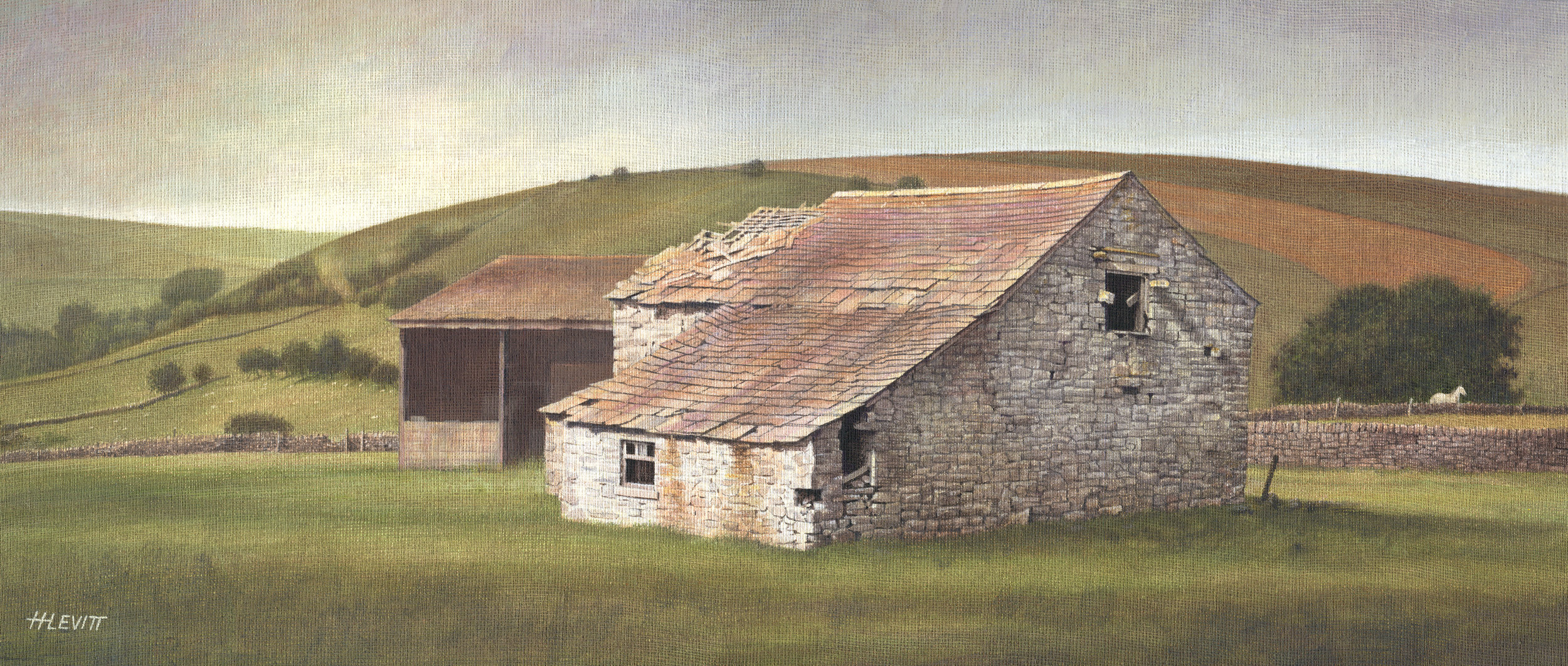 Barn above Sparrowpit ,Deryshire. Acrylic on Linen