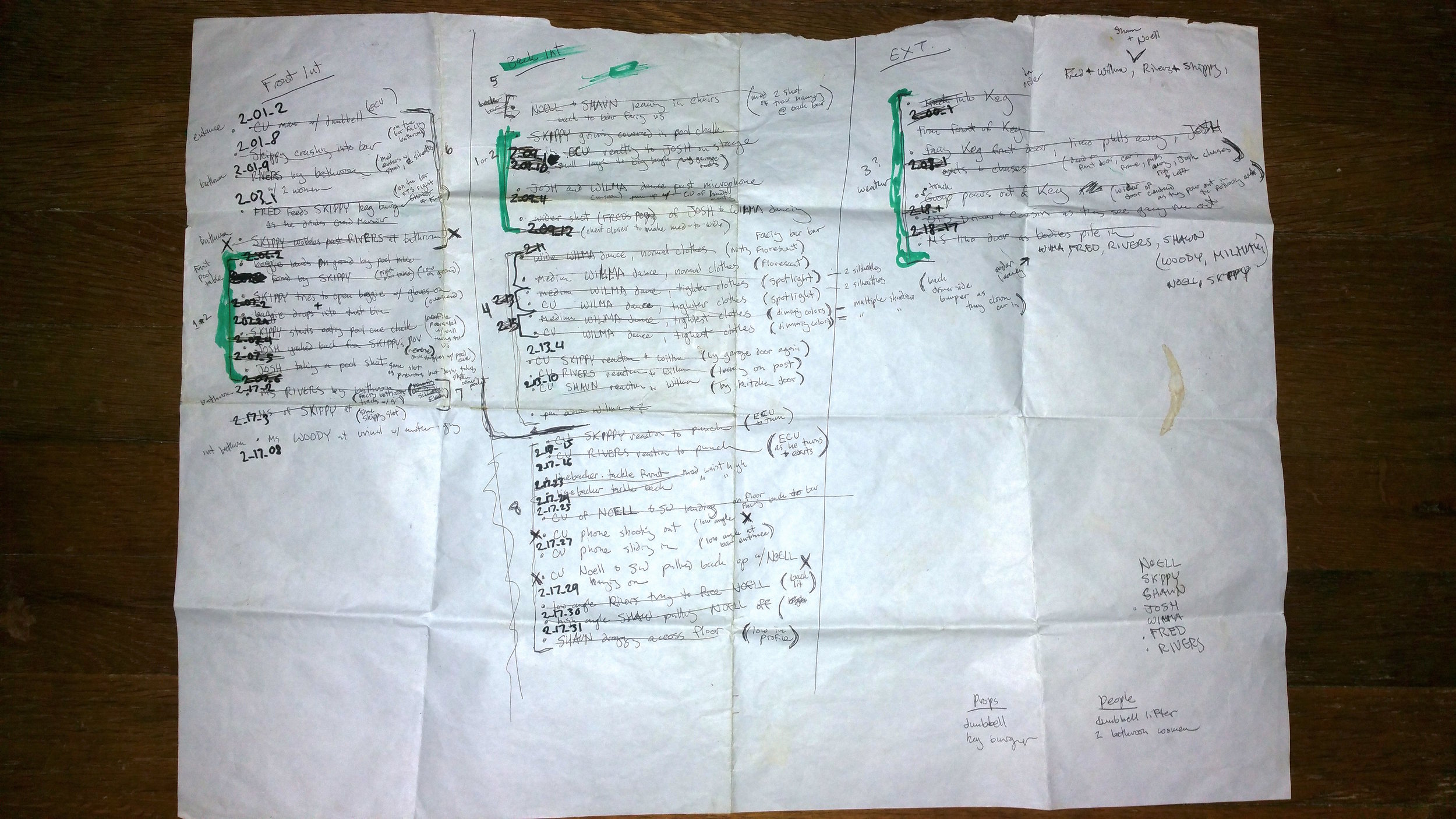 """The """"Holy Grail"""" as referred to by the crew. This is a shot list of the most difficult, demanding day of shooting LIMO RIDE. Proves we can implement a plan!"""
