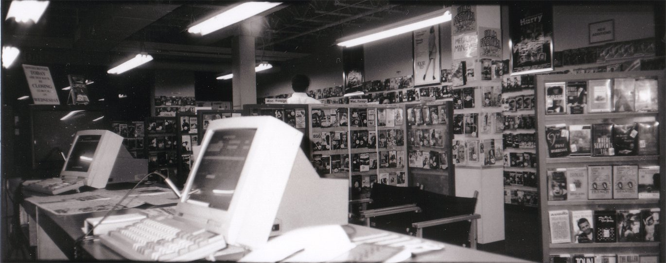 Movies Worth Seeing (1985-2011), the store where Gideon and Marcus worked and met. Photo by John Robinson, 1997.