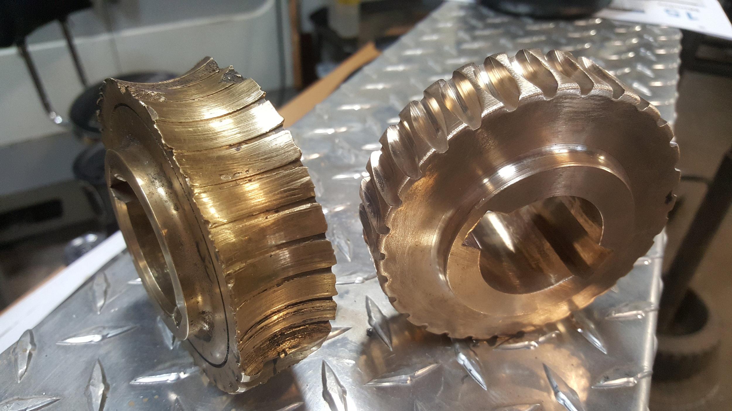 Manually Machined Brass Gear