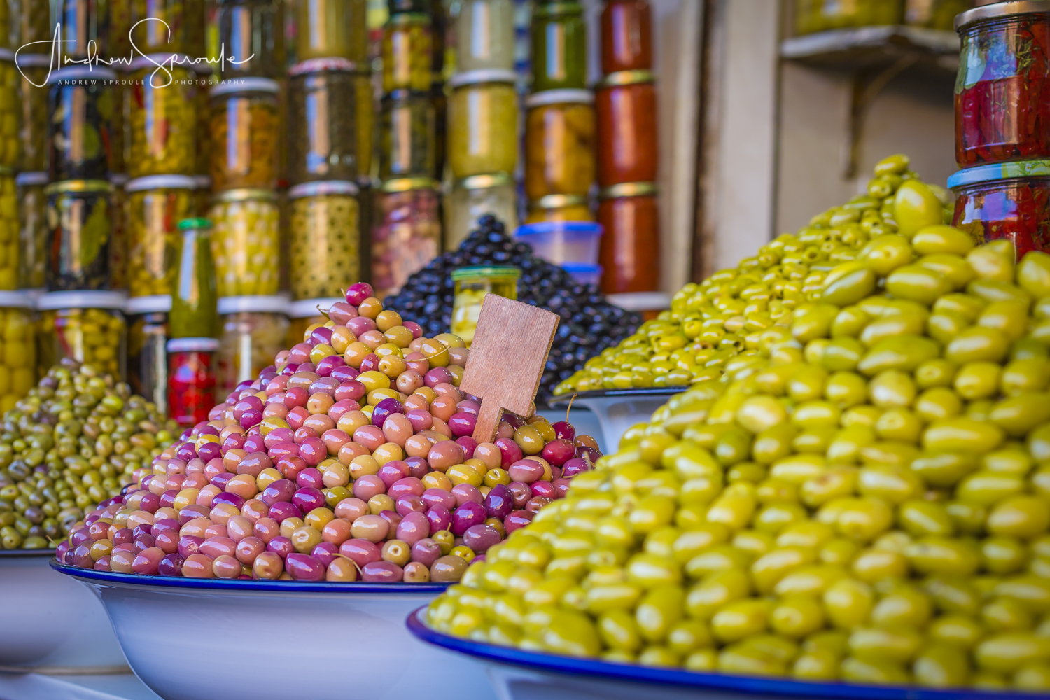 Andrew Sproule | Adventure and Wildlife Photographer | Marrakech, Morocco | Market Olive Stall
