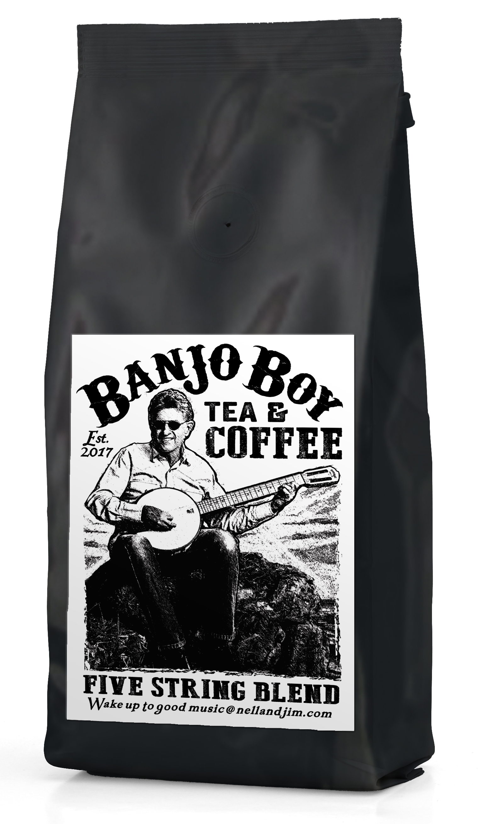 Five String Blend - A medium roasted coffee. In the tonal spectrum this blend has the pickup often desired to get you up to tempo and rolling along, its rich blend of nutty, woody character, is a great way start the day—wake up the taste buds and the fingers for rolling bluegrass.