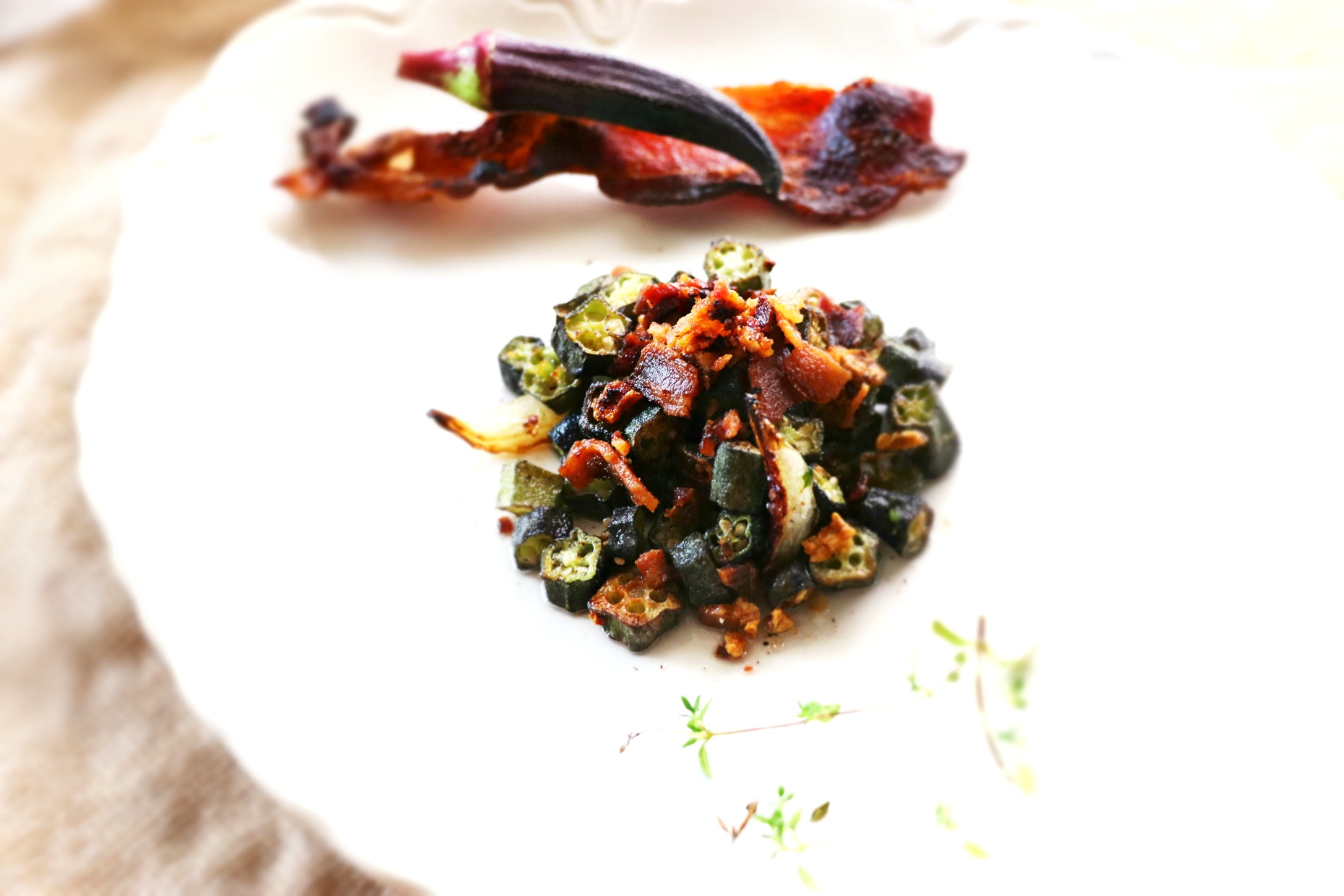 Purple Okra and Bacon -