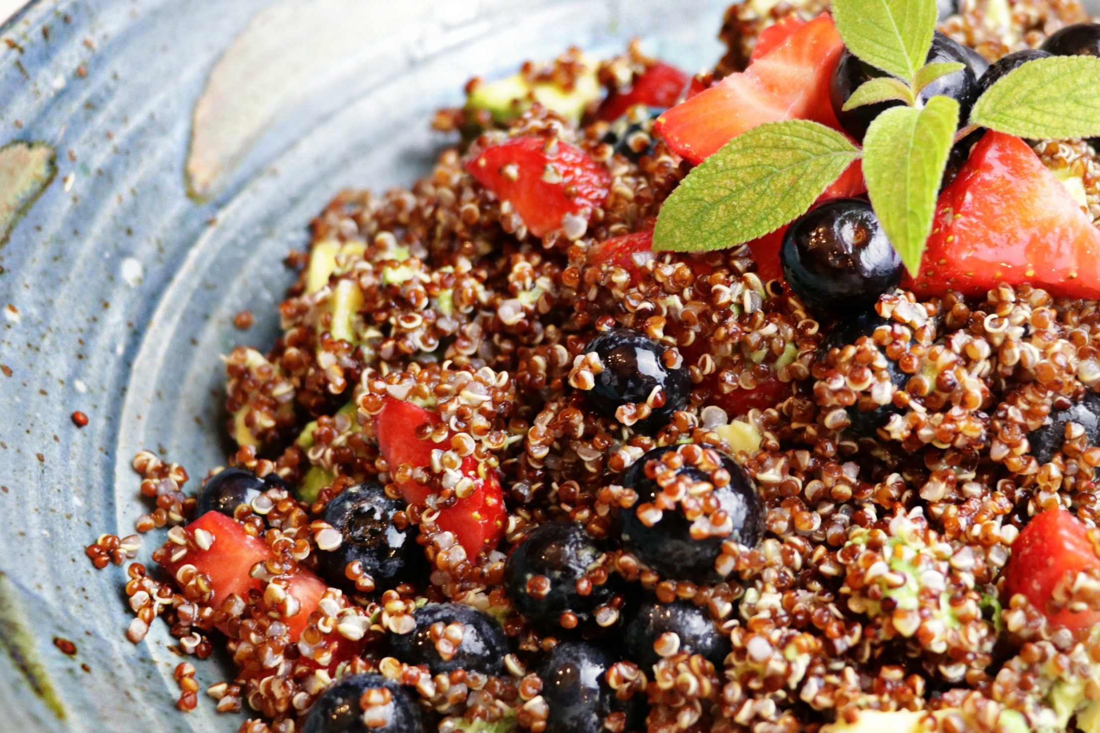 Red, Green and Blue Quinoa Salad at wellnesswithshelby.com