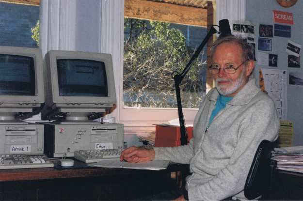Image of Ron at the Ausdance Victoria office – May 1996 (Photo from Ron Ewington)