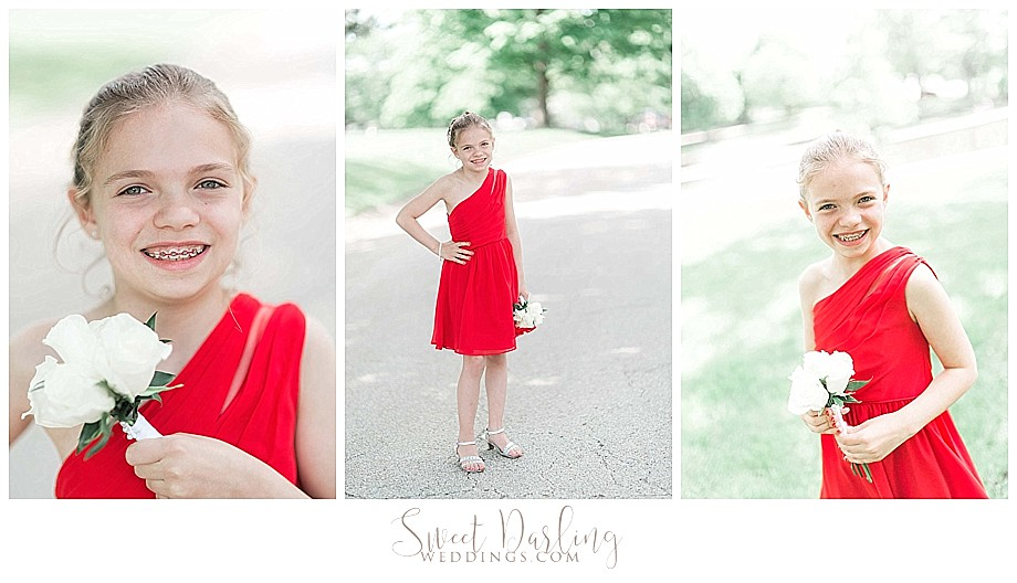 Flower girl in red dress at Bloomington Miller Park