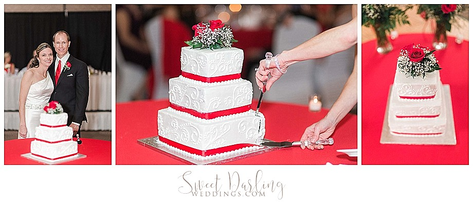Red Wedding cake cutting at Double Tree Hotel