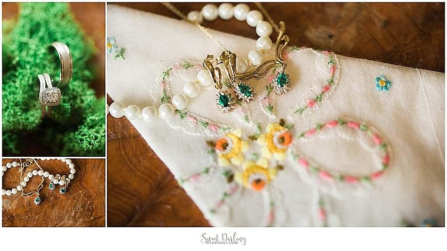 Champaign Jewelers rings with grandma's handkerchief