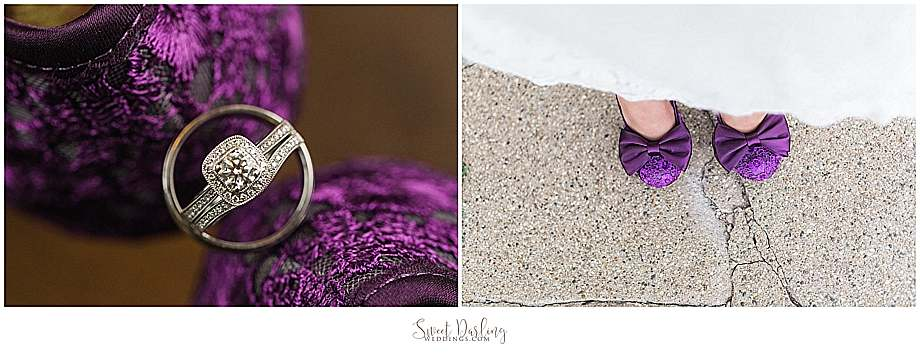 Purple heels makes for a great backdrop for the wedding rings by Champaign Jewelers.