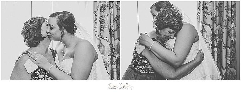 hugs kisses mom daughter on wedding day