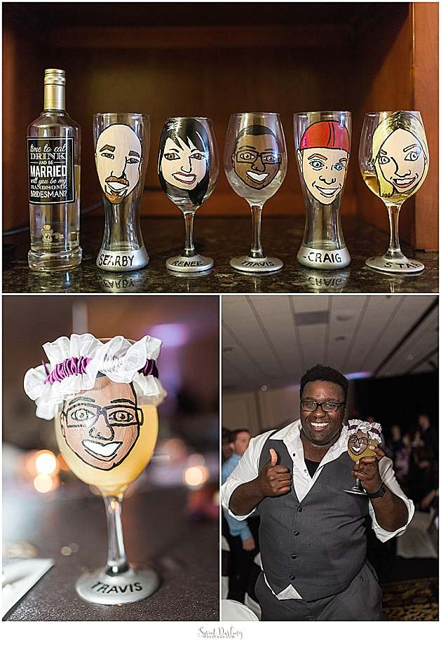 hand painted caricature glasses bridal party gift