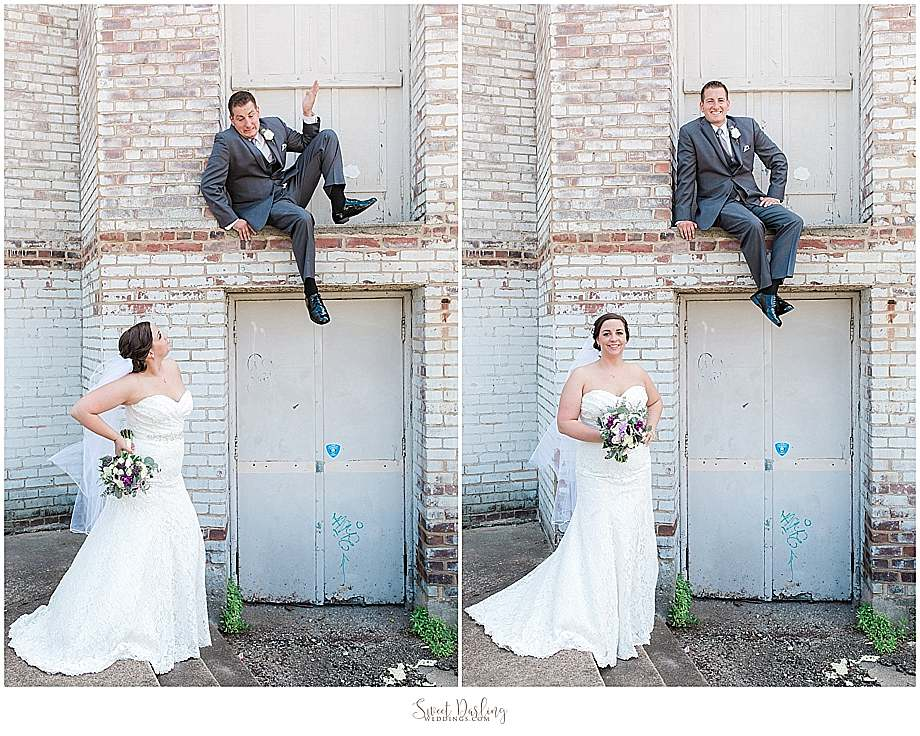 bride and groom having fun at orpheum