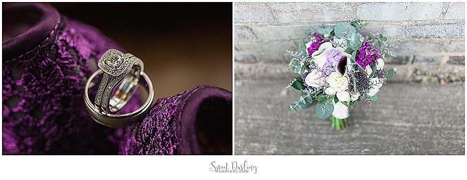 wedding bands on purple shoes bouquet brick walls