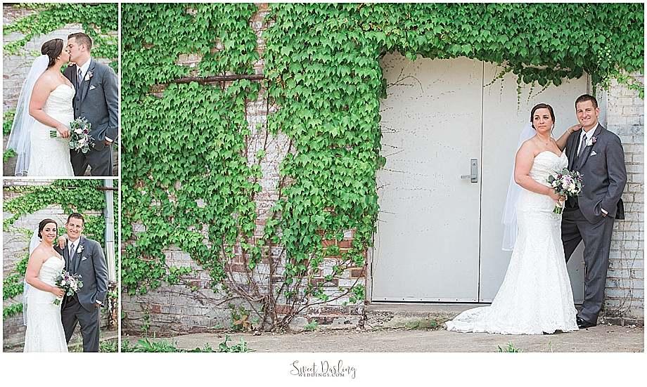bride groom by ivy brick walls