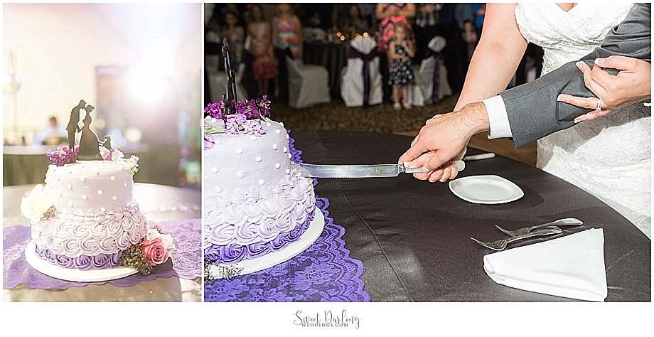cutting the purple wedding cake at Hilton