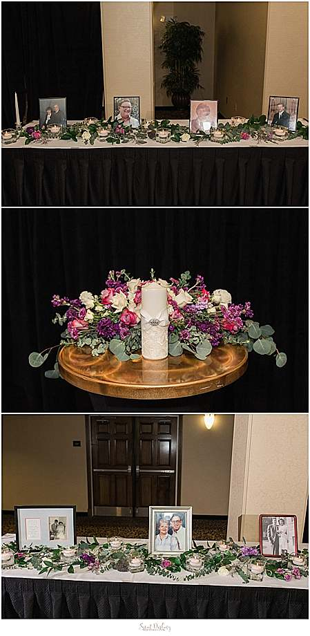 floral centerpiece and memorial display