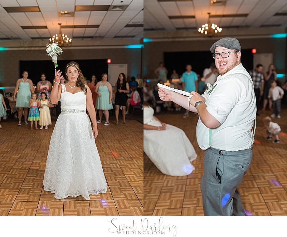 bouquet and garter toss at Hilton Garden Inn