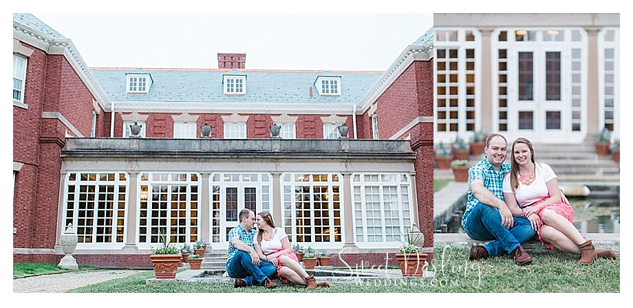 Engaged couple in front of Allerton Mansion