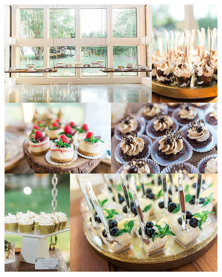 bite size dessert table at wedding