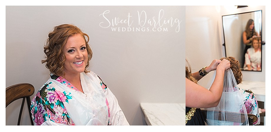 bride getting ready with BJ Grand Salon stylists