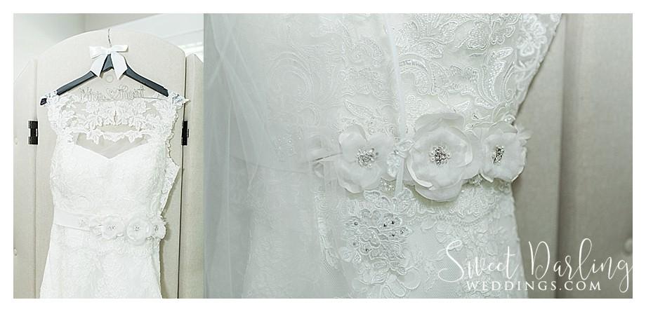 wedding dress detail with something old blue garter