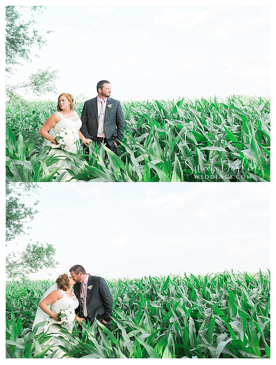 bride and groom farmers in corn