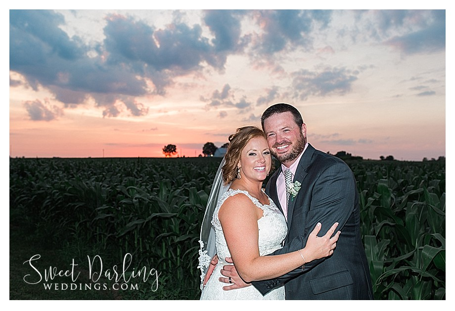 sunset photo in the country with bride and groom