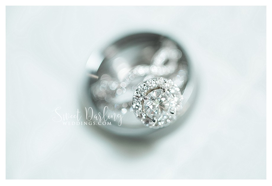 beautiful silver diamond ring on white background