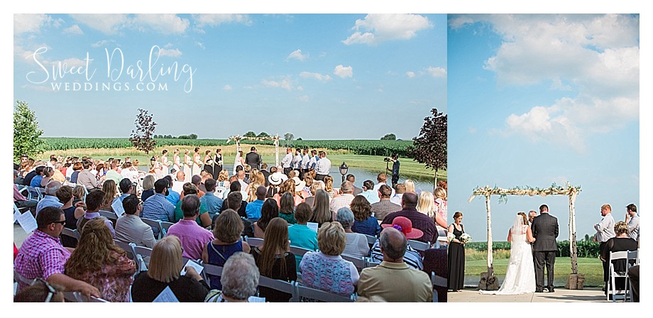 Outdoor wedding ceremony at Pear Tree by pond